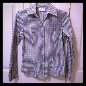 Ann Taylor Loft Striped Button down shirt PXS